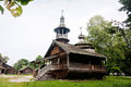 Old vintage wooden church and houses in Novgorod Royalty Free Stock Photo