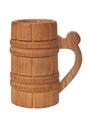 Old vintage wooden mug isolated on white background Stock Photo