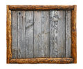 Old vintage wooden planks with log border frame Royalty Free Stock Photo