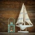 Old Vintage Wooden White Saili...