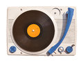Old vinyl turntable player with record isolated on white Royalty Free Stock Photo