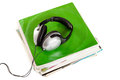 Old vinyls and headphones Royalty Free Stock Photo