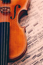 Old violin detail of an antique with notes Royalty Free Stock Photos