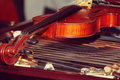 Old violin on a duclimer Royalty Free Stock Image