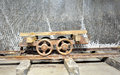Old wagon inside of salt mine on rail Royalty Free Stock Images