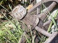 Old wagon wheel and grass Stock Photography