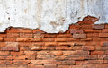 Old wall red brick damage decay erosion Royalty Free Stock Photo