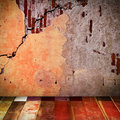 Old wall with wooden floor close up Stock Photo