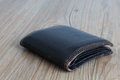 Old wallet on the floor with detail Royalty Free Stock Image