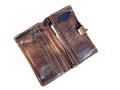Old wallet opened brown imitation leather close up Stock Images