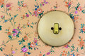 Old wallpaper with light switch Royalty Free Stock Photo