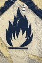 Old warning sign for flammable liquid background 3 Royalty Free Stock Photo