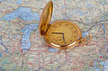 Old watch on map Royalty Free Stock Photo