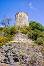 Old watch tower on costa del sol cliff near nerja in spain Royalty Free Stock Photo