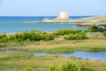 Old watchtower near Vieste on Puglia Royalty Free Stock Photo