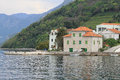 Old water front houses village lepetane montenegro Royalty Free Stock Image