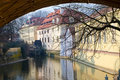 Old water mill on a river (Chertovka),Prague Stock Photography