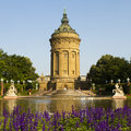 Old water tower of mannheim the germany shortly after sunrise Royalty Free Stock Image