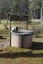 Old water well with bucket. Royalty Free Stock Photo