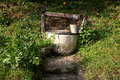 Old water well rural scenery in green Royalty Free Stock Image