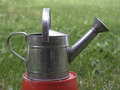 Old watering can closeup on green grass background Royalty Free Stock Image