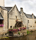 Old watermill in normandy scenic view of by canal or river france Royalty Free Stock Images