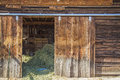 Old weathered barn door hay sunlight Royalty Free Stock Photo