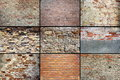 Old weathered brick walls textures collection in one collage Royalty Free Stock Images