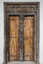 Old weathered carved traditional zanzibarian door