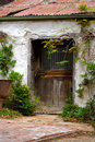 Old weathered door on a derelict outbuilding Stock Photography