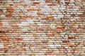 Old and weathered grungy yellow and red brick wall with visible crack as rustic rough texture background Royalty Free Stock Photo