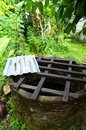 Old well with safety grid, farm house Royalty Free Stock Image
