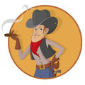 Old west gunslinger man wearing a gray hat while smoking Royalty Free Stock Photo