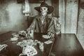 Old West Poker Playing Skeleton