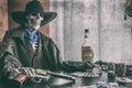 Old West Poker Skeleton Vintage
