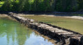 Old wharf decaying badly upper part frenchman bay maine Royalty Free Stock Photo