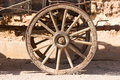 Old wheel of a covered wagon Royalty Free Stock Photo