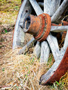 Old wheel wagon at a farm Stock Photo
