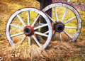 Old wheel wagon wheels at a farm Stock Photography