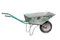 Old wheelbarrow isolated on a white background Royalty Free Stock Photos