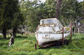 Old white boat stranded in pasture Stock Photo