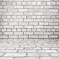 Old white gray brick room background as Royalty Free Stock Image