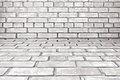 Old white gray brick room background as Royalty Free Stock Images