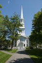 Old white new england church Royalty Free Stock Images