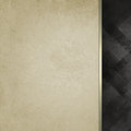 Old white paper with gold ribbon trim and black patterned black sidebar Royalty Free Stock Photo