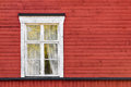 Old white window on red wall wooden Stock Photography