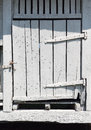Old white wooden barn door Royalty Free Stock Image