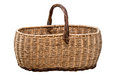Old Wicker Basket Isolated On a White Background Royalty Free Stock Photo