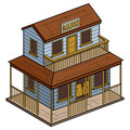 Old wild west isometric saloon illustration of an isolated on white background Royalty Free Stock Image