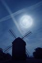 Old Wind Mill and Full Moon Night Royalty Free Stock Photo